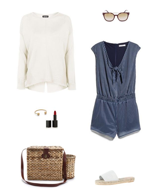 blue-med-jumper-romper-white-sweater-tan-bag-straw-white-shoe-sandals-sun-spring-summer-weekend.jpg