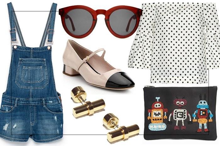blue-med-jumper-romper-overalls-white-shoe-flats-maryjane-sun-dot-print-studs-black-bag-clutch-white-top-offshoulder-spring-summer-lunch.jpg