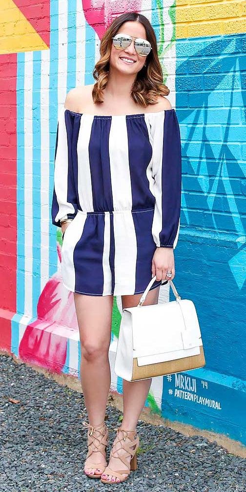 blue-navy-jumper-romper-vertical-stripe-white-bag-tan-shoe-sandalh-sun-hairr-bold-spring-summer-lunch.jpg