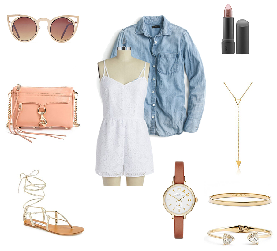 white-jumper-romper-blue-light-collared-shirt-peach-bag-tan-shoe-sandals-watch-sun-bracelet-necklace-spring-summer-outfit-weekend.jpg