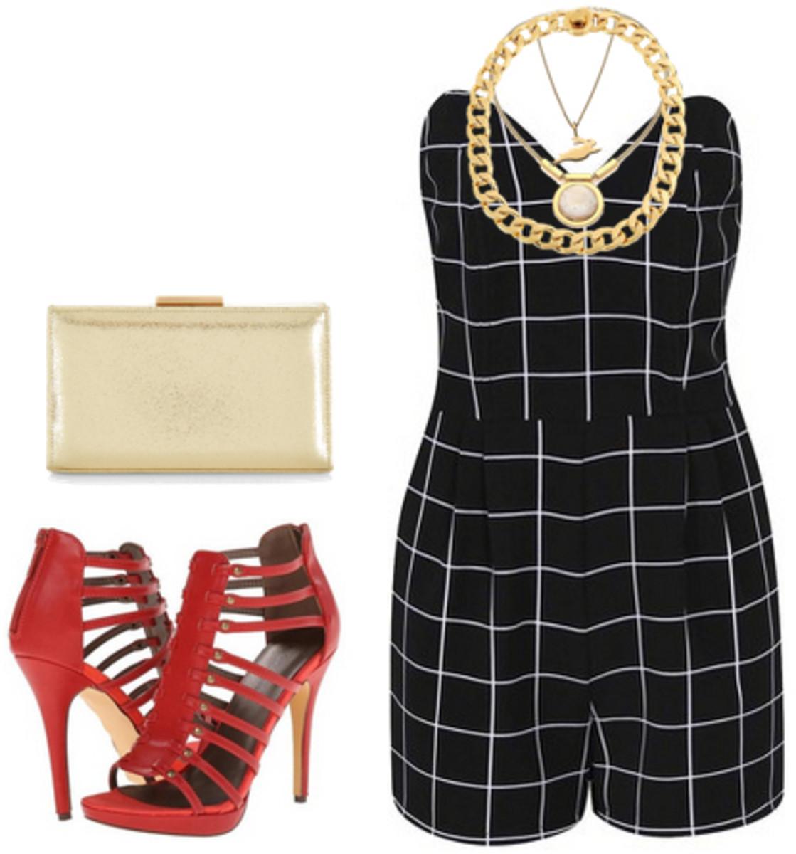 black-jumper-romper-red-shoe-sandalh-chain-necklace-tan-bag-clutch-windowpane-print-spring-summer-dinner.jpg