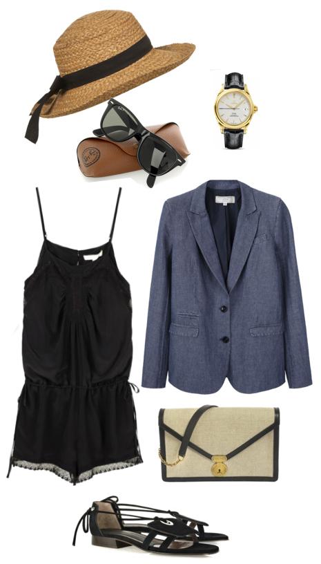 black-jumper-romper-blue-med-jacket-blazer-boyfriend-white-bag-black-shoe-sandals-watch-hat-sun-festival-howtowear-fashion-style-outfit-spring-summer-weekend.jpg