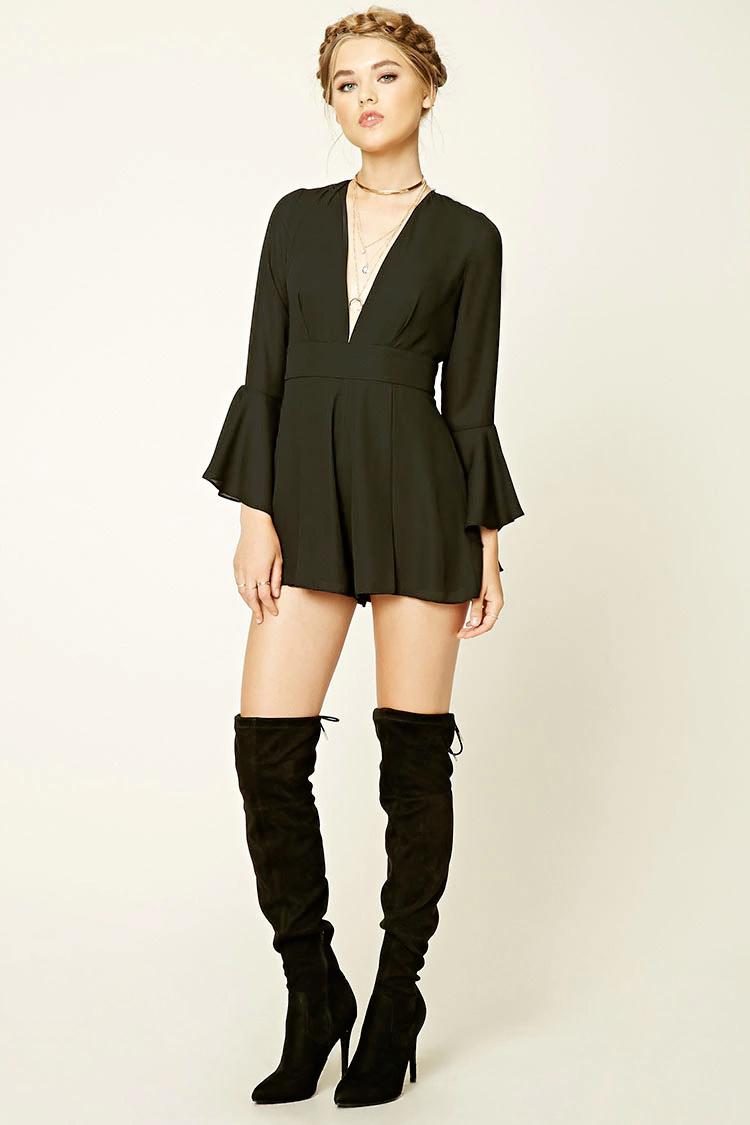 black-jumper-black-shoe-boots-romper-spring-summer-wear-fashion-style-bellsleeve-choker-braid-blonde-dinner.jpg