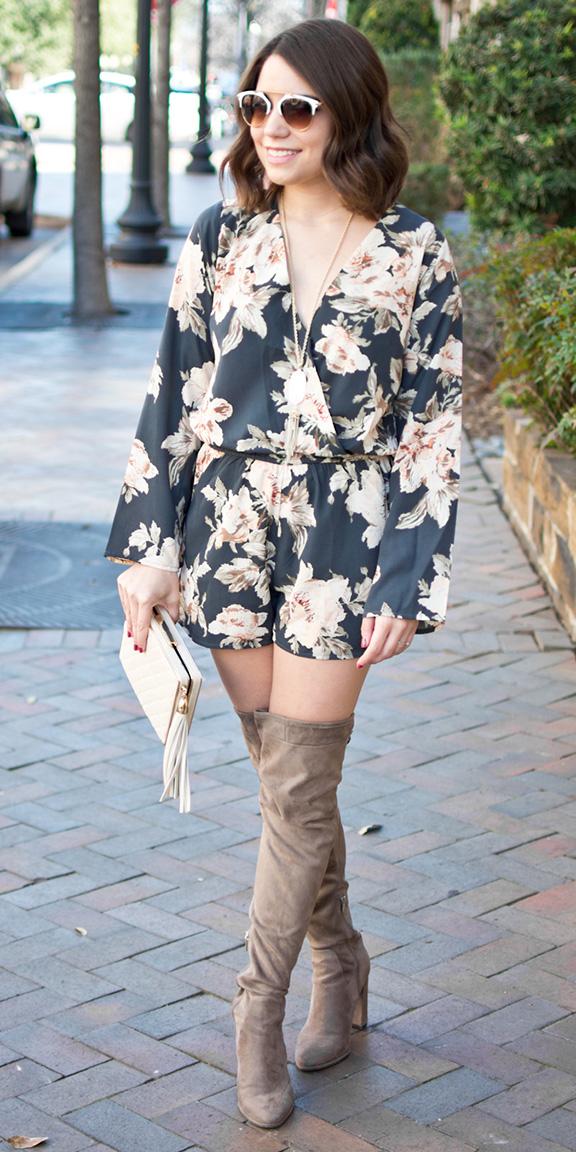 black-jumper-romper-floral-print-white-bag-clutch-tan-shoe-boots-otk-sun-brun-fall-winter-lunch.jpg