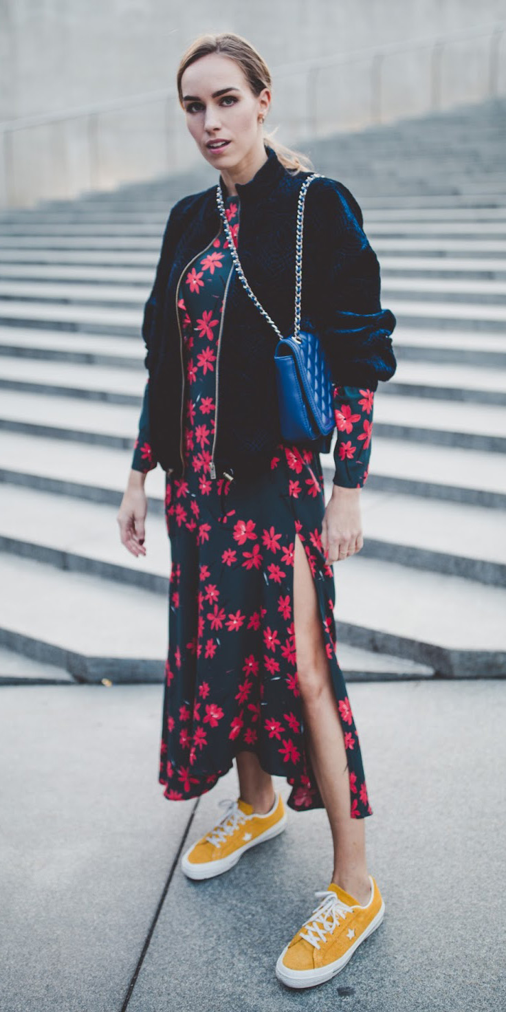 red-dress-floral-print-midi-peasant-blue-navy-jacket-bomber-blue-bag-yellow-shoe-sneakers-blonde-pony-fall-winter-lunch.jpg