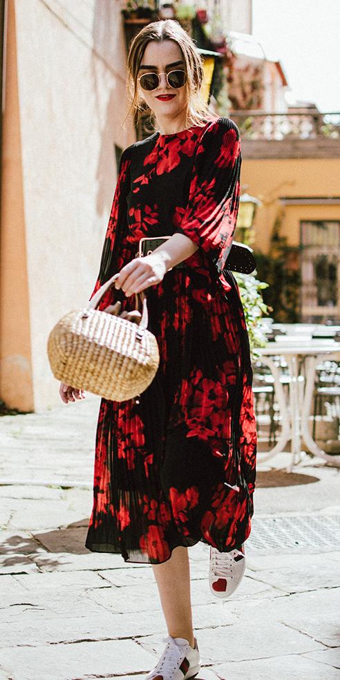 red-dress-midi-print-tan-bag-hairr-sun-white-shoe-sneakers-fall-winter-lunch.jpg