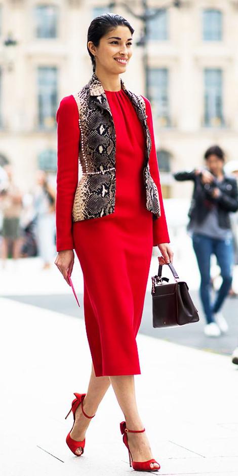 red-dress-shift-midi-red-shoe-sandalh-snakeskin-brown-vest-tailor-brun-bun-brown-bag-fall-winter-dinner.jpg