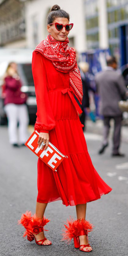 red-dress-midi-peasant-red-shoe-sandalh-sun-red-scarf-red-bag-clutch-bun-hairr-mono-fall-winter-dinner.jpg