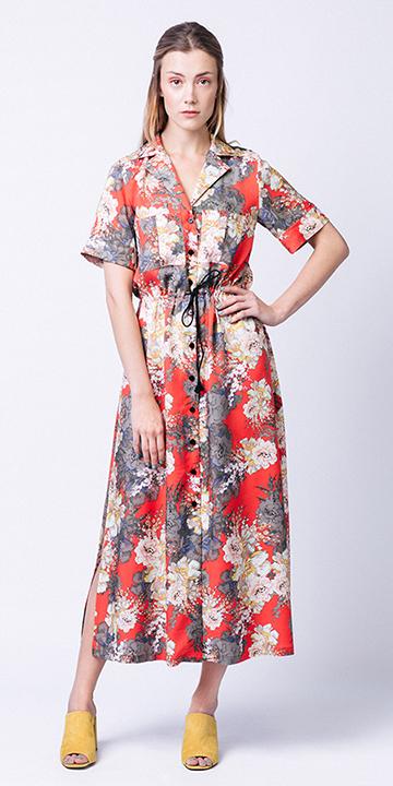 red-dress-shirt-floral-print-blonde-yellow-shoe-sandalh-midi-spring-summer-lunch.jpeg