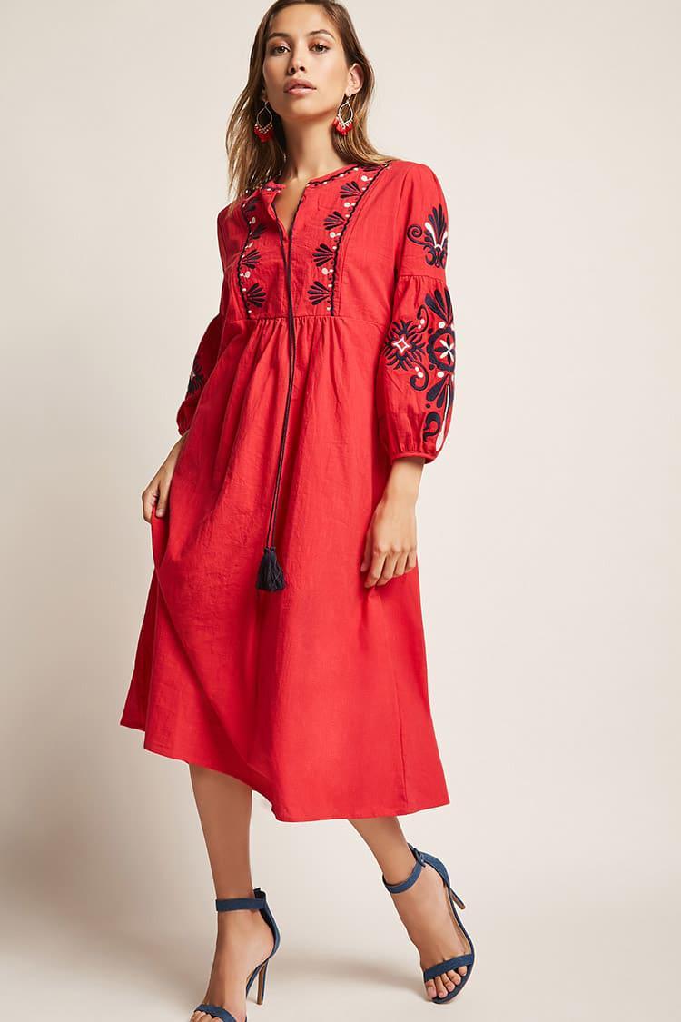 red-dress-peasant-midi-hairr-earrings-blue-shoe-sandalh-howtowear-fashion-spring-summer-dinner.jpeg