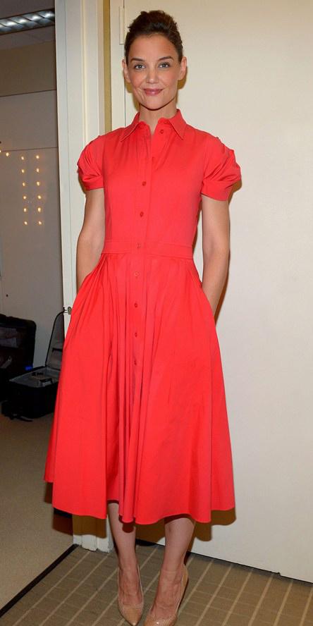 red-dress-shirt-midi-tan-shoe-pumps-katieholmes-spring-summer-dinner.jpg