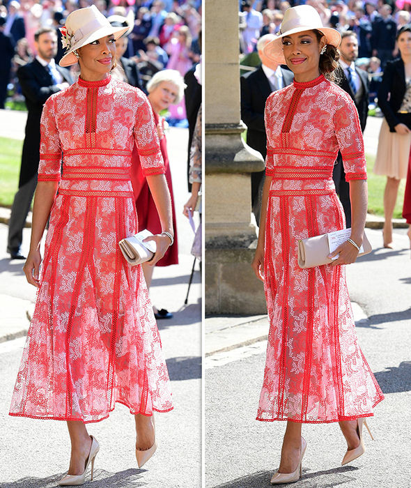what-to-wear-for-a-spring-wedding-guest-outfit-red-dress-midi-hat-brun-tan-bag-clutch-tan-shoe-pumps-lunch.jpg