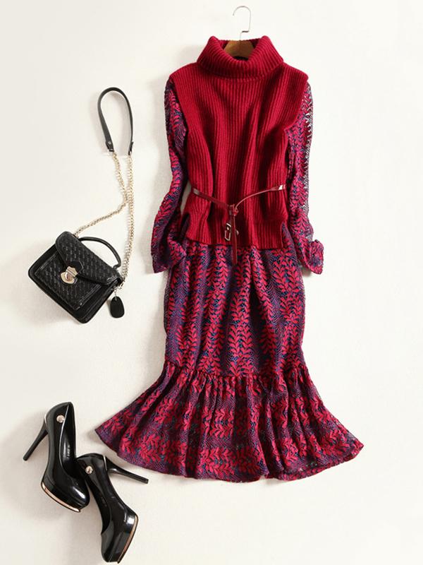 red-dress-aline-midi-black-bag-skinny-belt-red-sweater-sleeveless-black-shoe-pumps-fall-winter-work.jpg