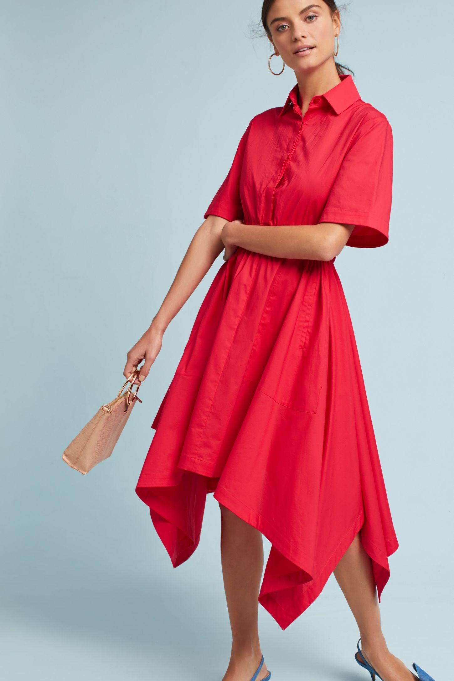 red-dress-shirt-midi-hoops-pony-hairr-blue-shoe-pumps-slingback-tan-bag-anthropologie-spring-summer-lunch.jpg