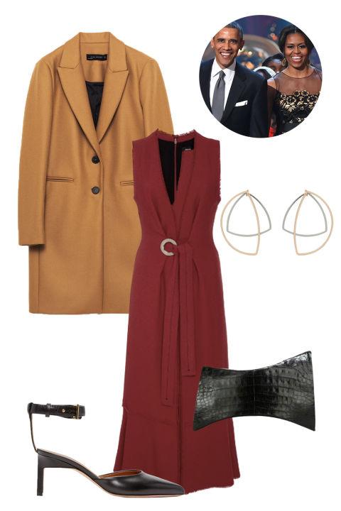 red-dress-wrap-midi-thanksgiving-camel-jacket-coat-earrings-black-bag-black-shoe-pumps-fall-winter-dinner.jpg