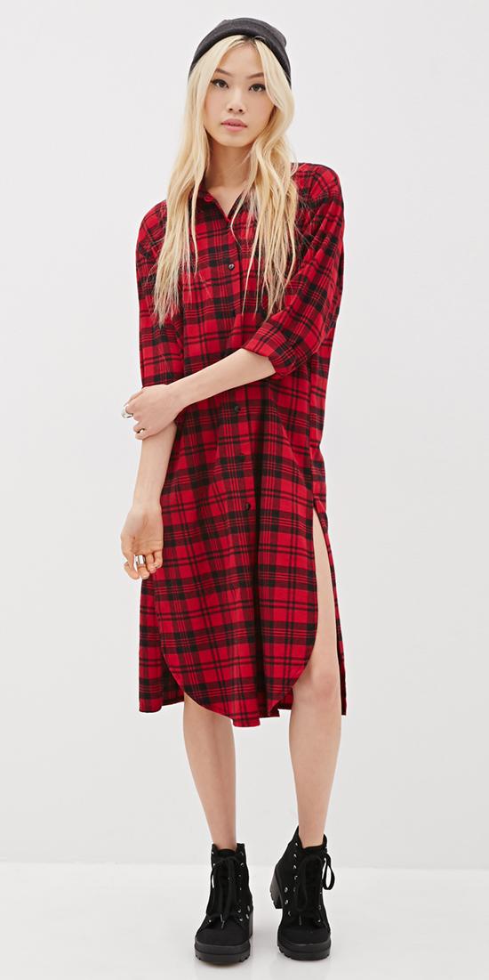 red-dress-zprint-plaid-black-shoe-booties-shirt-wear-style-fashion-fall-winter-midi-beanie-blonde-weekend.jpg