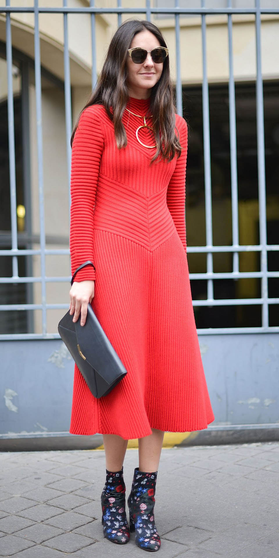 red-dress-midi-black-shoe-booties-black-bag-clutch-necklace-sun-hairr-sweater-howtowear-valentinesday-outfit-fall-winter-dinner.jpg