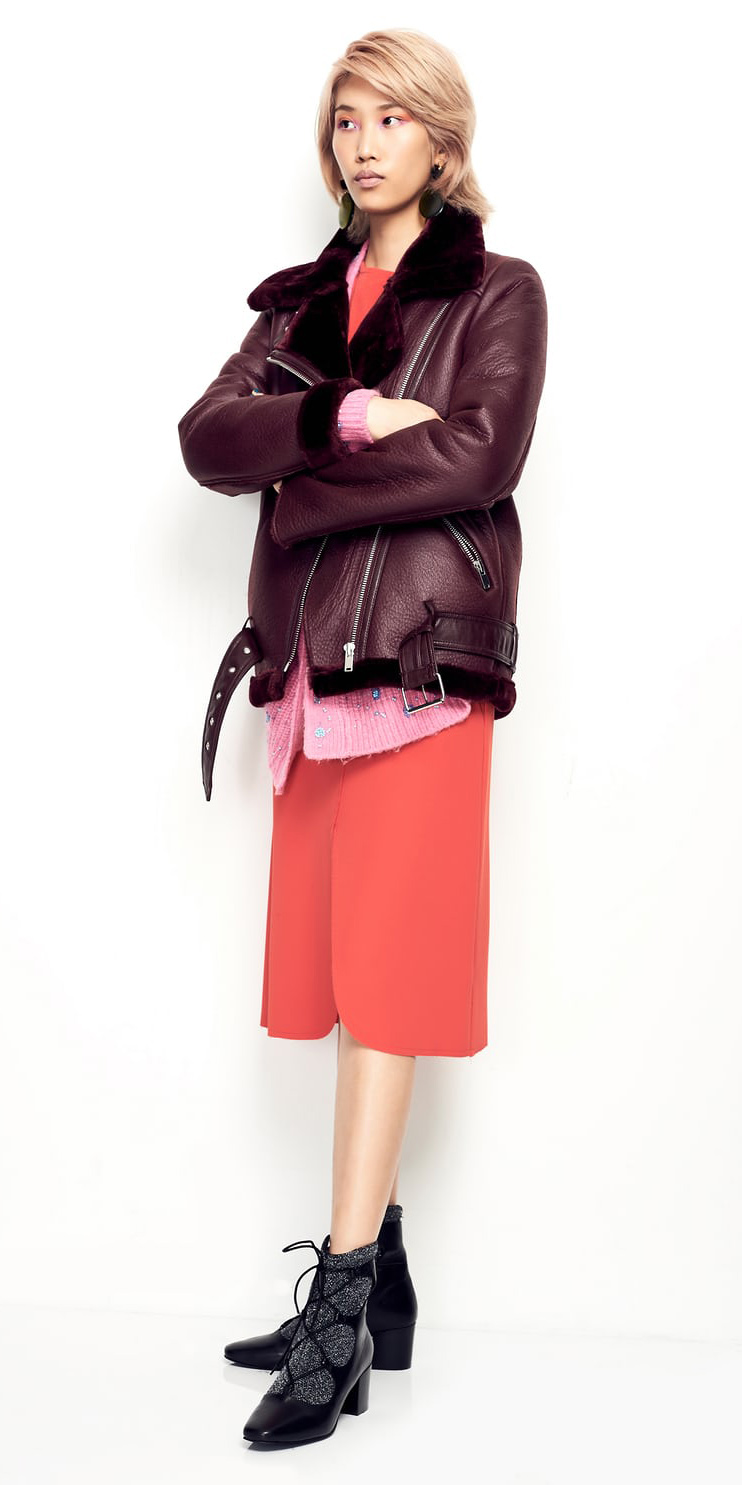 red-dress-midi-pink-light-cardiganl-burgundy-jacket-moto-blonde-black-shoe-booties-fall-winter-lunch.jpg