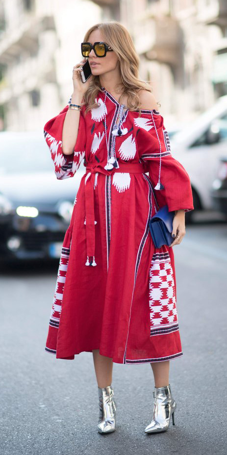 red-dress-peasant-blue-bag-blonde-sun-gray-shoe-booties-metallic-silver-howtowear-fashion-midi-fall-winter-lunch.jpg