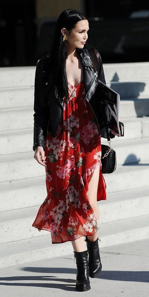 red-dress-midi-floral-print-tank-earrings-black-shoe-booties-black-jacket-moto-fall-winter-brun-lunch.jpg