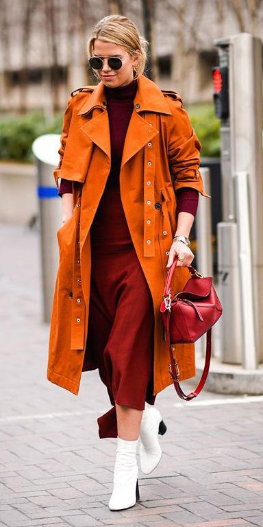 burgundy-dress-midi-orange-jacket-coat-trench-blonde-sun-white-shoe-booties-red-bag-fall-winter-lunch.jpg