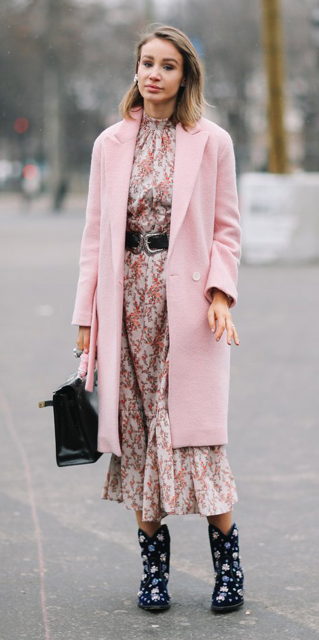 pink-light-dress-midi-floral-print-belt-black-shoe-booties-pink-light-jacket-coat-fall-winter-blonde-lunch.jpg