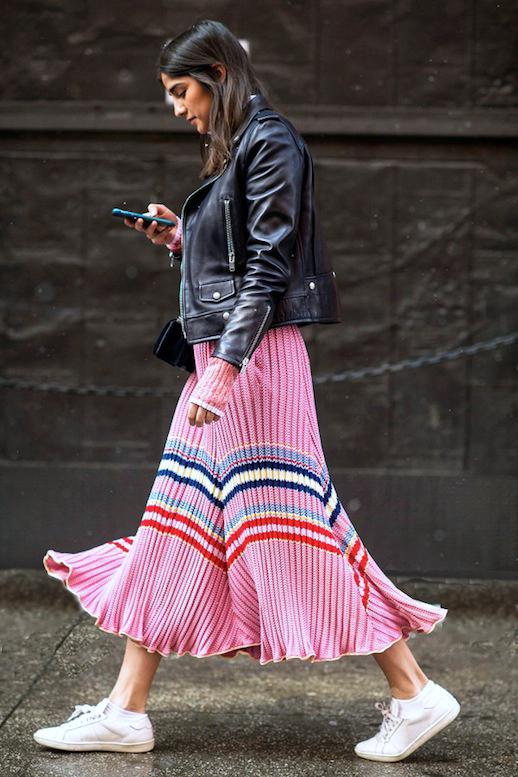 pink-magenta-dress-midi-sweater-black-jacket-moto-brun-white-shoe-sneakers-spring-summer-weekend.jpg
