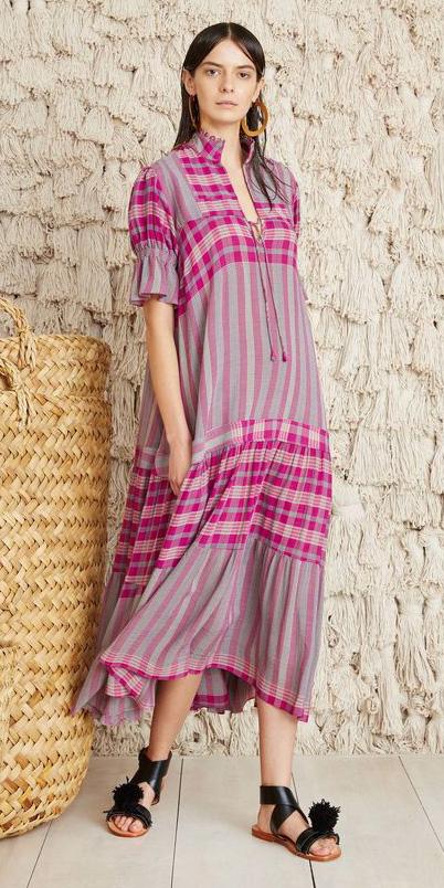 pink-magenta-dress-peasant-midi-print-hoops-hairr-black-shoe-sandals-spring-summer-weekend.jpg