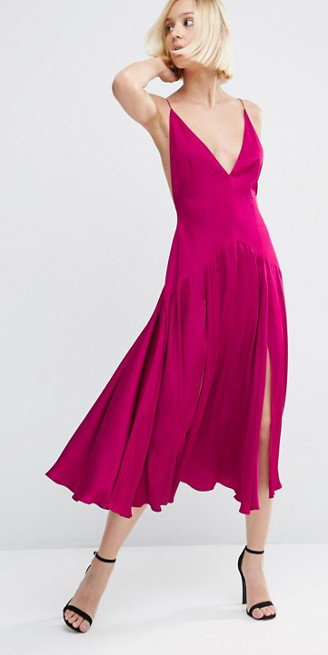 pink-magenta-dress-slip-midi-blonde-bob-black-shoe-sandalh-spring-summer-dinner.jpg