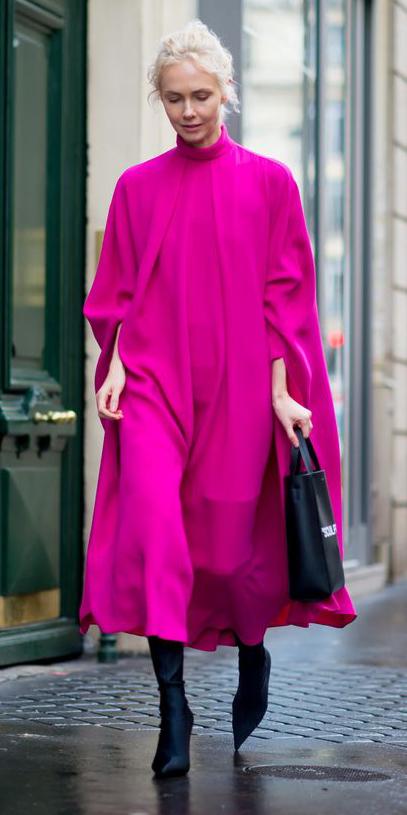 pink-magenta-dress-midi-swing-blonde-black-shoe-boots-fall-winter-lunch.jpg