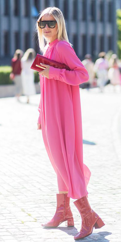 pink-magenta-dress-peasant-midi-red-bag-clutch-red-shoe-booties-blonde-sun-fall-winter-lunch.jpg