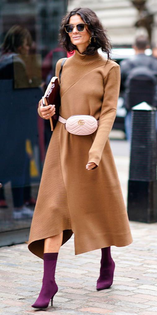camel-dress-midi-sweater-white-bag-fannypack-brun-sun-purple-shoe-booties-fall-winter-lunch.jpg