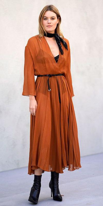 camel-dress-wrap-midi-black-bralette-sheer-skinny-belt-black-scarf-neck-blonde-black-shoe-booties-fall-winter-dinner.jpg