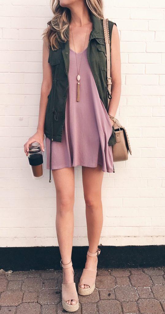 pink-light-dress-tank-slip-tan-bag-tan-shoe-sandalw-blonde-necklace-pend-green-olive-vest-utility-spring-summer-weekend.jpg