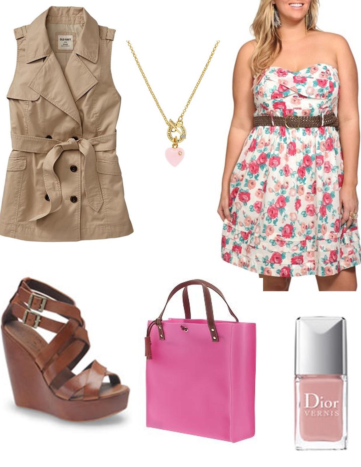 r-pink-light-dress-zprint-floral-belt-tan-vest-trench-brown-shoe-sandalw-pink-magenta-bag-necklace-tank-wear-style-fashion-spring-summer-safari-wedges-lunch.jpg