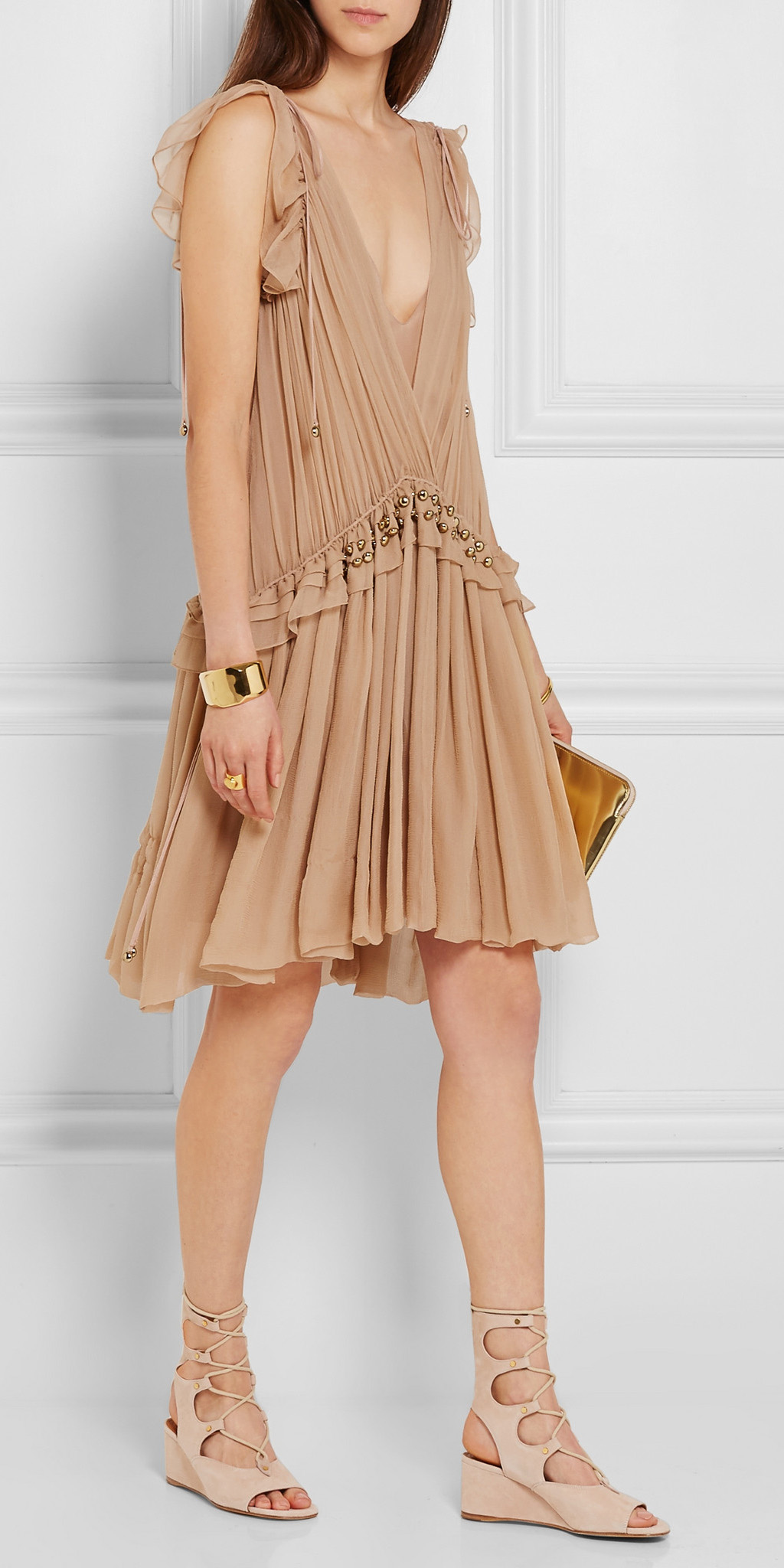 tan-dress-swing-tank-tan-shoe-sandalw-bracelet-hairr-gold-spring-summer-lunch.jpeg