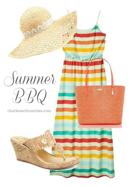 yellow-dress-maxi-tank-stripe-tan-shoe-sandalw-orange-bag-tote-hat-straw-howtowear-fashion-style-outfit-spring-summer-lunch.jpg