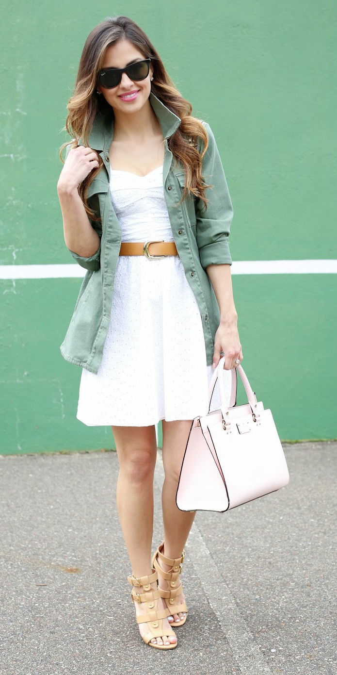 white-dress-tank-belt-white-bag-tan-shoe-sandalh-green-olive-jacket-utility-sun-hairr-spring-summer-lunch.jpg