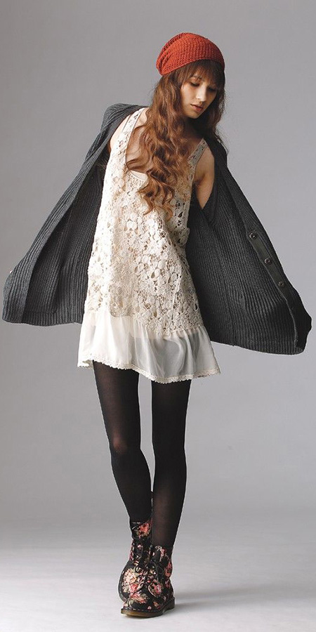 white-dress-tank-black-tights-black-shoe-booties-floral-print-combat-beanie-lace-grayd-cardiganl-fall-winter-hairr-weekend.jpg