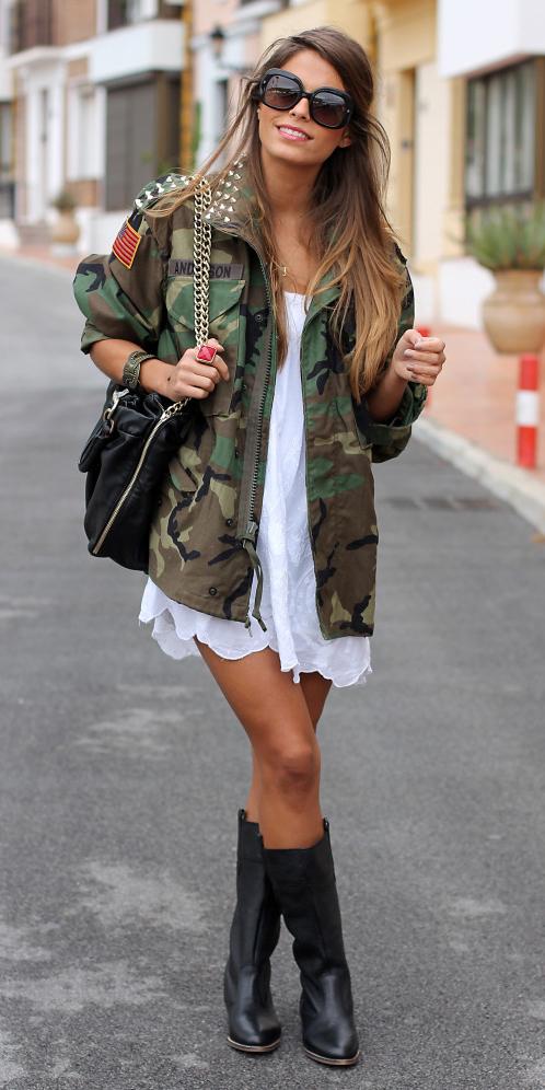 white-dress-tank-black-shoe-boots-hairr-sun-black-bag-camo-print-green-olive-jacket-utility-fall-winter-weekend.jpg