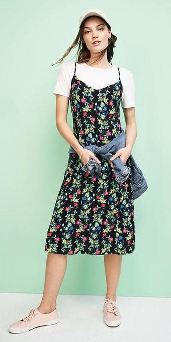 black-dress-tank-slip-floral-print-white-tee-hat-cap-pink-shoe-sneakers-spring-summer-weekend.jpg