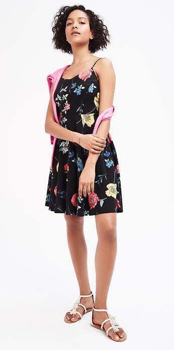 black-dress-tank-floral-print-brun-bob-white-shoe-sandals-pink-magenta-cardigan-spring-summer-weekend.jpg