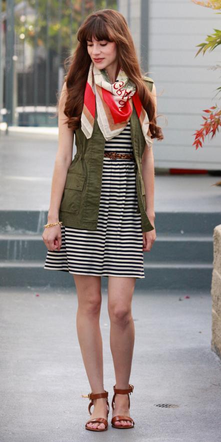 black-dress-tank-stripe-red-scarf-green-olive-vest-utility-hairr-cognac-shoe-sandals-spring-summer-weekend.jpg