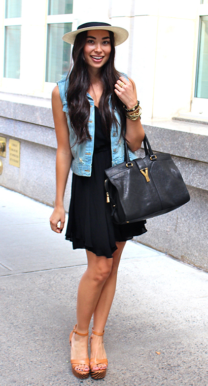 black-dress-blue-light-vest-jean-tank-hat-panama-black-bag-cognac-shoe-sandalw-bracelet-howtowear-fashion-style-outfit-brun-spring-summer-lunch.jpg