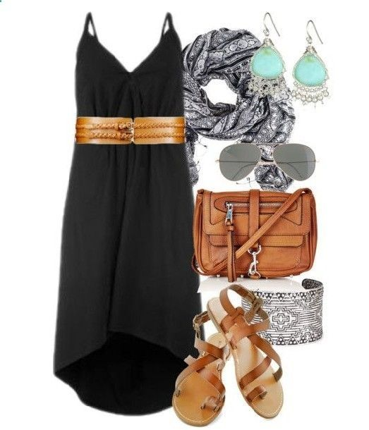 black-dress-wide-belt-tank-coganc-shoe-sandals-cognac-bag-earrings-jewel-bracelet-black-scarf-print-howtowear-fashion-style-outfit-spring-summer-weekend.jpg