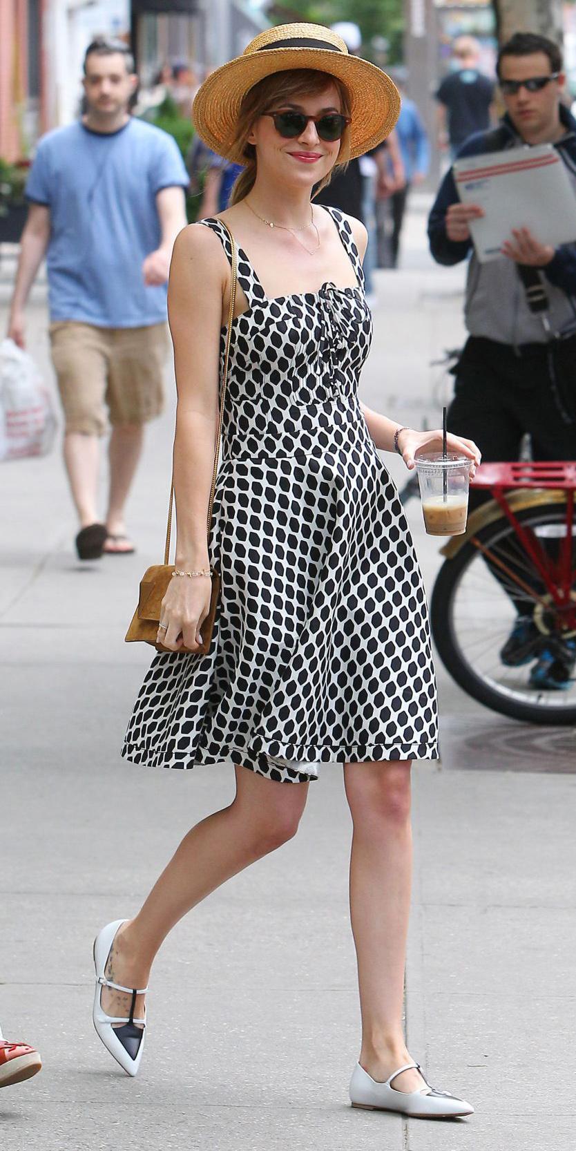 black-dress-tank-hat-straw-sun-pony-white-shoe-flats-print-dakotajohnson-spring-summer-weekend.jpg
