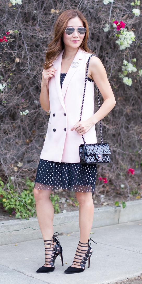 pink-light-vest-tailor-black-dress-tank-hairr-sun-black-bag-black-shoe-pumps-spring-summer-dinner.jpg