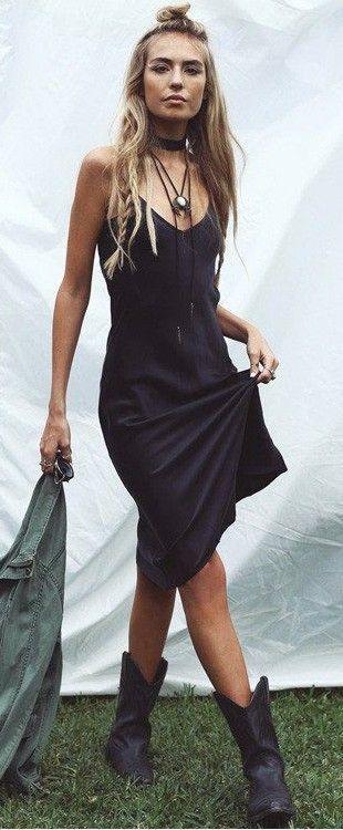 black-dress-tank-slip-choker-blonde-black-shoe-booties-spring-summer-weekend.jpg