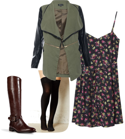 black-dress-green-olive-jacket-coat-floral-print-tank-socks-brown-shoe-boots-howtowear-fashion-style-outfit-fall-winter-lunch.jpg