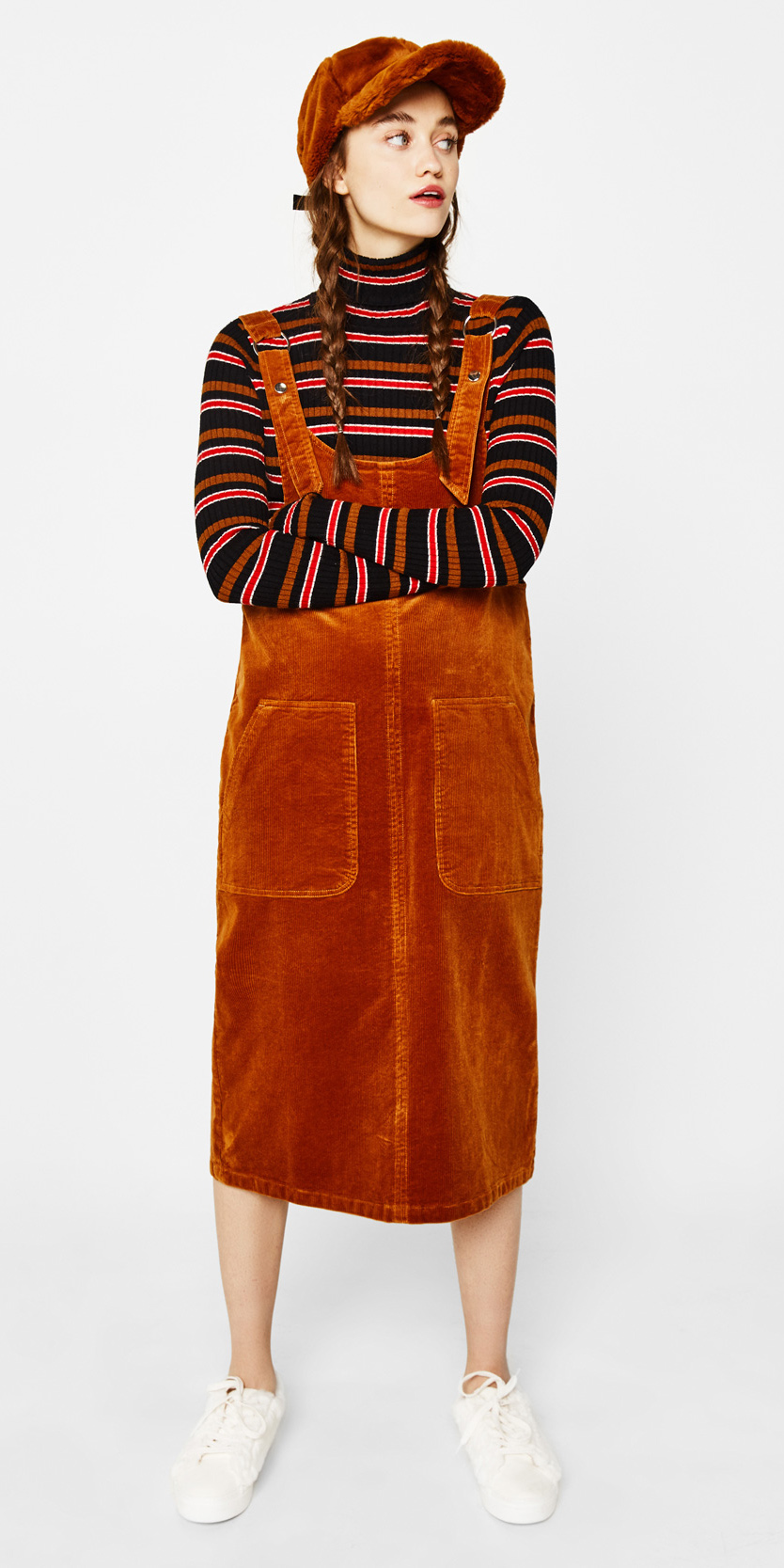 orange-dress-jumper-black-top-turtleneck-stripe-hat-braids-hairr-white-shoe-sneakers-layer-corduroy-fall-winter-weekend.jpg